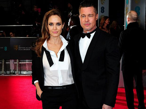 Angelina Jolie and Brad Pitt arriving at The Baftas. Photo: Ian West/PA Wire