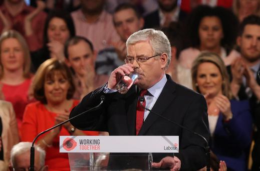 Tanaiste Eamon Gilmore delivers his keynote speech at the Labour Party Ard Fheis at the Johnstown House Hotel in Co Meath. Niall Carson/PA Wire