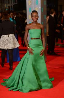 Lupita Nyong'o arriving at The EE British Academy Film Awards. Photo: Dominic Lipinski/PA Wire
