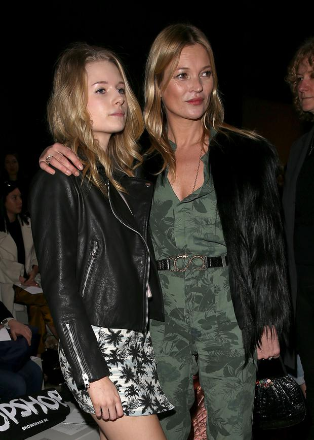 Kate Moss and sister Lottie Moss attends the Topshop Unique show