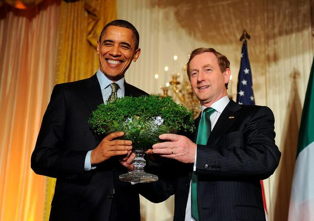 Taoiseach Enda Kenny with US President Barack Obama in 2011 for the traditional presentation of a bowl of shamrock on St. Patrick's Day reception in Washington, DC.