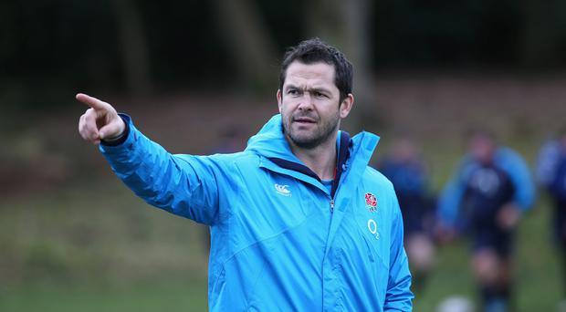 Andy Farrell, the England backs coach looks on during the England training session held at Pennyhill Park