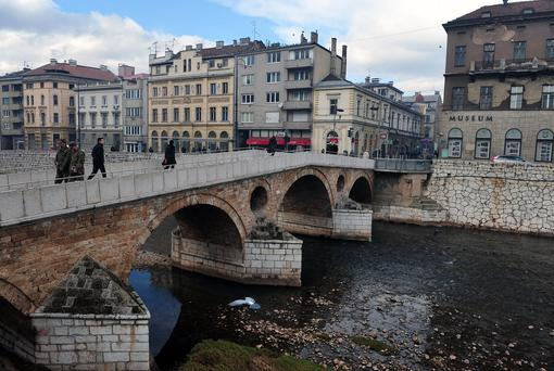 The Latin Bridge and the street corner where Serbian nationalist Gavrilo Princip assassinated Austro-Hungarian heir to the throne Archduke Franz Ferdinand and his pregnant wife Sophia on June 28, 1914. Photo: Getty Images