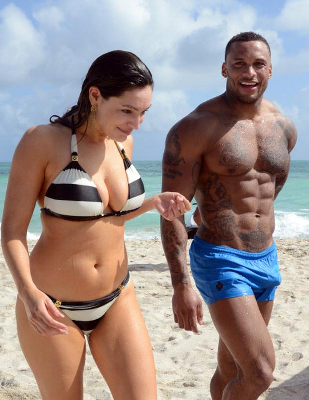 Kelly Brook and David McIntosh are seen on February 3, 2014 in Miami Beach, Florida