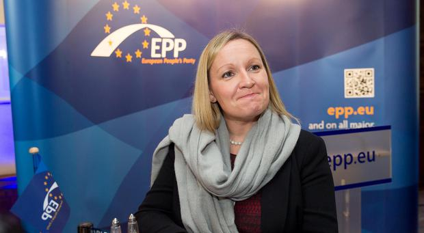 European Council...24th October 2013 - Brussels, Belgium - Pictured at the summit of the European Peoples Party (EPP) prior to the European Council meeting were, left to right, Lucinda Creighton T.D. Photo by Peter Cavanagh [Must Credit]