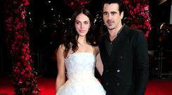 Jessica Brown Findlay (left) and Colin Farrell attending the premiere of A New York Winter's Tale at the Odeon Kensington, London earlier this month.