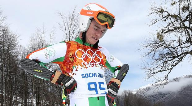 Team Ireland's Conor Lyne is dejected after failing to finish the Mens Giant Slalom