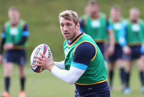 Chris Robshaw runs with the ball during the England training session this week ahead of Saturday's Triple Crown decider against Ireland