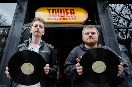 Dave Farrell - Store Manager (left) & Joe Plunkett - General Manager (right). Outside brand new Tower Records on 7 Dawson St. Dublin 2.