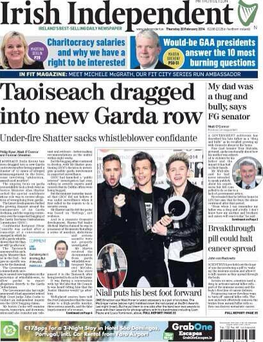 Irish Independent's front page, February 20, 2014