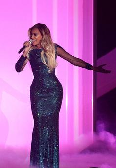 Beyonce on stage during the 2014 Brit Awards at the O2 Arena, London. Yui Mok/PA Wire