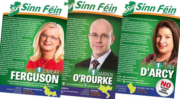 The Sinn Fein posters with the incorrect date of May 22 - polling day is May 23