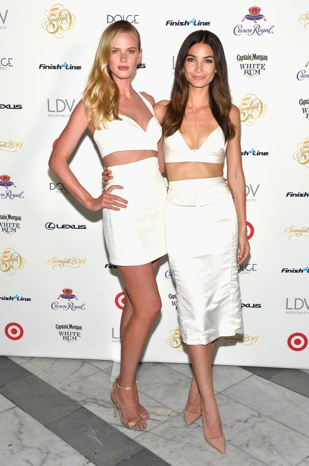 MIAMI, FL - FEBRUARY 20: Models Anne Vyalitsyna and Lily Aldridge attend Sports Illustrated Swimsuit South Beach Soiree at The Gale Hotel on February 20, 2014 in Miami, Florida. (Photo by Frazer Harrison/Getty Images for Sports Illustrated)