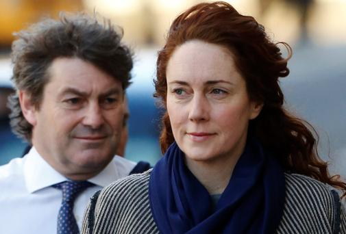 Rebekah Brooks with husband Charlie at the Old Bailey yesterday. Reuters