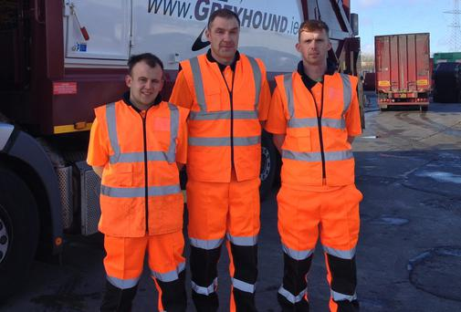 Hero binmen Fintan Reilly, Jonathan Greene and Daniel McMahon