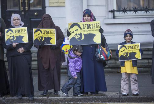 Protesters outside the department of Foreign Affairs protesting for Ibrahim Halawa who remains imprisoned in Egypt