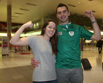 Ireland Rugby supporters, Ciaran Todd, 27, and Karen Duffy, 28, from Tullamore, Offaly, pictured in Dublin Airport