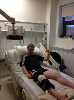 Colm Cooper has tweeted this picture of himself following surgery on his ruptured ACL ligament