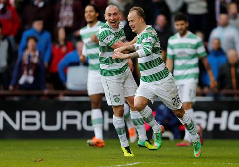 Celtic's Leigh Griffiths (R) celebrates his goal with Scott Brown against Hearts