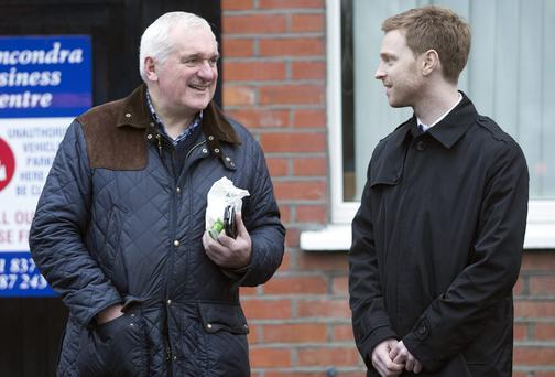 Former Taoiseach Bertie Ahern talks to Sunday Independent reporter Phillip Ryan outside his office in Drumcondra. Photo: Tony Gavin 21/2/2014
