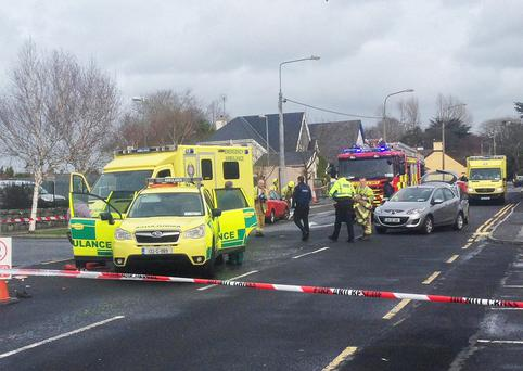 The scene of Sunday's freak accident at Francis Street, Ennis, Co. Clare where an elderly woman died after her car suddenly moved backwards striking her