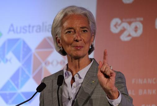 IMF Managing Director Christine Lagarde delivers a closing statement during a press conference at the G-20 Finance Ministers and Central Bank Governors meeting in Sydney, Australia.