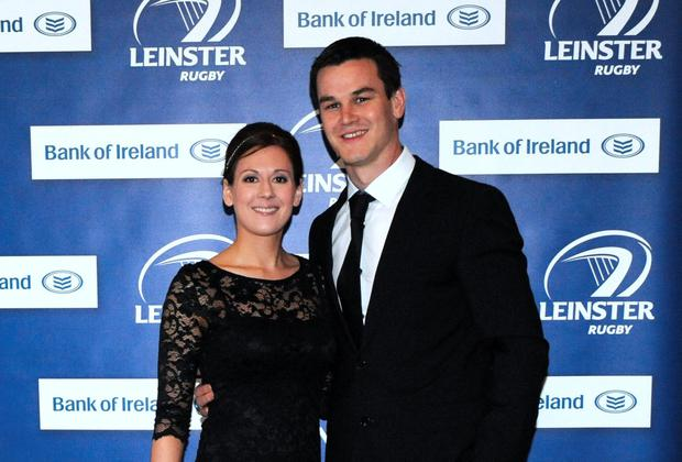 Ireland out-half Jonathan Sexton and his wife Laura