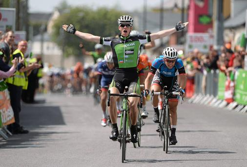 Sam Bennett celebrates as he crosses the line to win Stage 3 of the 2013 An Post Rás