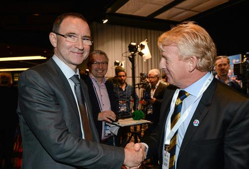 Republic of Ireland manager Martin O'Neill and Scotland manager Gordon Strachan