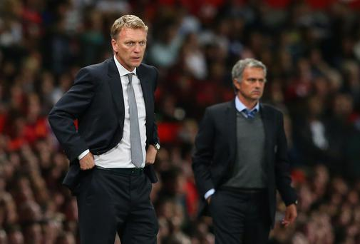 Manchester United manager David Moyes and Chelsea manager Jose Mourinho