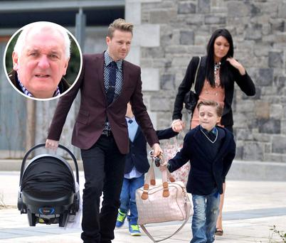Nicky and Georgina Byrne with children Jay, Rocco and Gia at the christening. Inset: Bertie Ahern