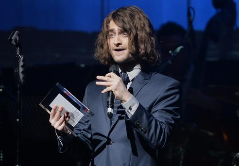Daniel Radcliffe receives the award for Best Actor in a Play during the What'sOnStage Awards at the Prince of Wales Theatre, London. Photo: Anthony Devlin/PA Wire