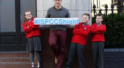 Brian was also on hand with children from Talbot Senior School and the ISPCC's Children's Advisory Committee to unveil the new anti-bullying flag this morning