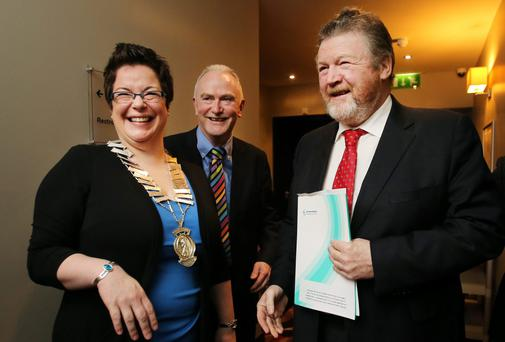Minister for Health James Reilly pictured with Caitriona Stack Chairperson EHAI , and Martin Fitzpatrick at the Environmental Health Association of Ireland Sunbed information day