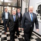 Finance minister Michael Noonan,TD (right) and Brendan Howlin,TD the Minister for Public expenditure arriving for a news conference following the final bailout review by the Troika.