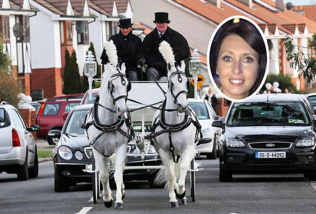 The funeral cortage of Sonia Blount (inset) pictured leaving the Holy Rosary Church, Ballycragh