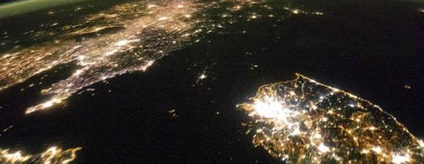 North Korea appears as a black expanse between neighbouring China (left) and South Korea (right)