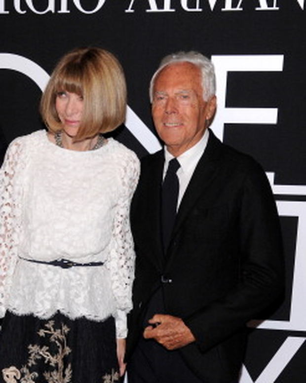 Oscar de la Renta, Anna Wintour and Giogrio Armani attend Giorgio Armani One Night Only NYC at SuperPier on October 24, 2013 in New York City. (Photo by Dimitrios Kambouris/Getty Images for Giorgio Armani)