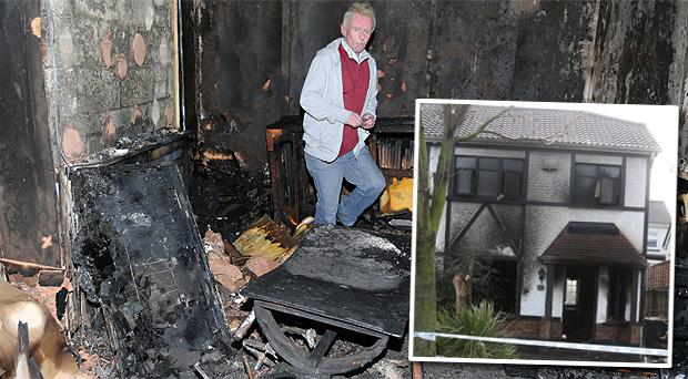 Pat Murphy pictured in his burnt out Clondalkin Home this morning