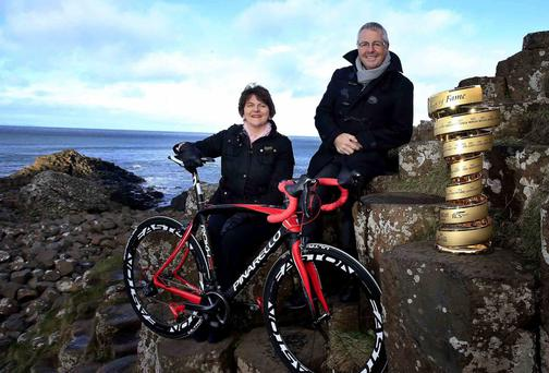 Northern Ireland Tourism Minister Arlene Foster, is pictured with Stephen Roche
