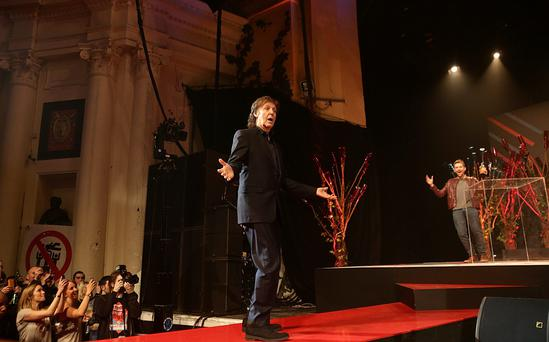 Paul McCartney collects the Songwriters Songwriter Award during the 2014 NME Awards, at Brixton Academy, London. Photo: Yui Mok/PA Wire