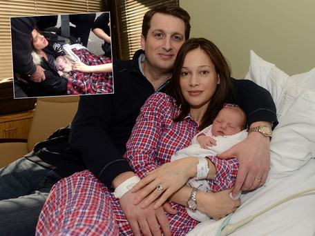 Irish corporate lawyer Cian McCourt with his daughter Ila and wife Polly, who gave birth on a sidewalk in New York on 68th Street – with the help of a team of Good Samartians