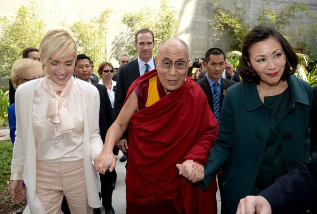 Actress Sharon Stone and His Holiness the Dalai Lama at the California Science Centre