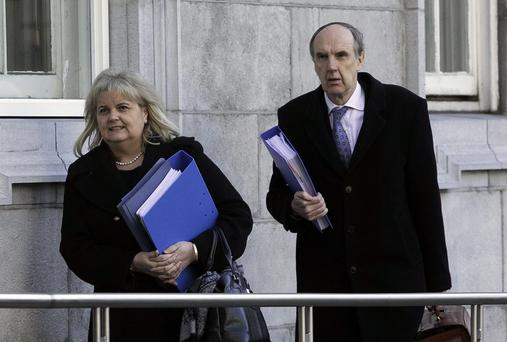 Rehab Chief Executive Angela Kerins & Dr John McGuire, Director Rehab Group arrive before addressing the Public Accounts Committee on issues of expenditure at the organisation on Kildare Street, Dublin. Photo: Gareth Chaney Collins