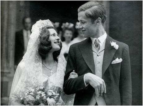 Desmond Leslie and Agnes marry at St James's Church in London, in August 1945.