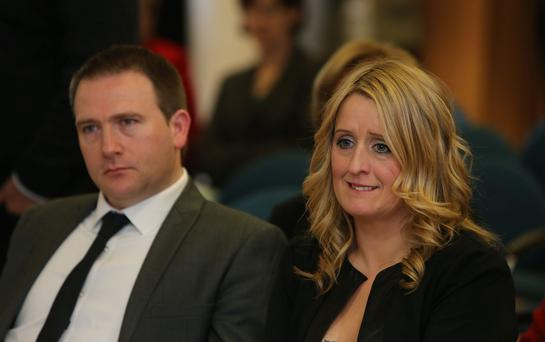 Mark and Roisin Molloy during the launch of a report, into the deaths of four babies at the Midlands Regional Hospital Portlaoise. Photo: Niall Carson/PA Wire