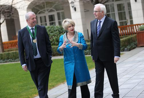 At the Institute of Directors spring lunch in Dublin yesterday were Liam Daniel, IoD president, with Maura Quinn, IoD chief executive, and guest speaker Frank Daly of NAMA.