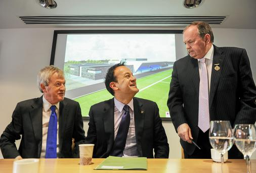 Transport Minister Leo Varadkar (centre) at the National Sports Campus site in Blanchardstown for the sod-turning ceremony ahead of the construction of the GAA Centre of Excellence. Left, GAA director-general Paraic O Dufaigh; right, GAA president Liam O Neill. Picture: PAT MURPHY/SPORTSFILE