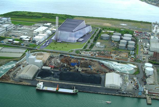 An artist's impression of the proposed Poolbeg Incinerator
