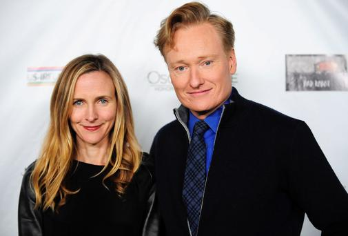 Talk show host Conan O'Brien and wife Liza Powel O'Brien at the Irish pre-Oscars party in Santa Monica, California
